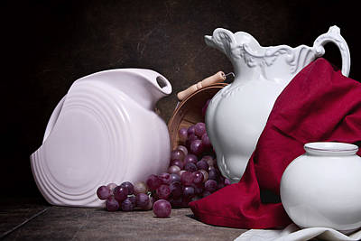 Pitchers Photograph - White Ceramic Still Life by Tom Mc Nemar