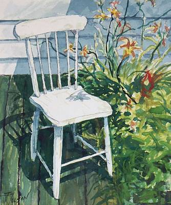 Art Print featuring the painting White Chair And Day Lilies by Joy Nichols