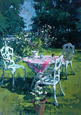 Table Cloth Painting - White Chairs At Belchester by Susan Ryder