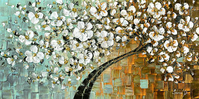 Cherry Blossom Painting - White Cherry Blossom by Susanna Shap