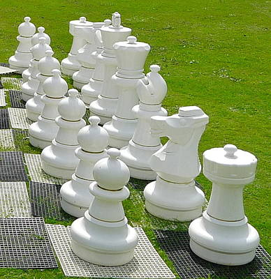 Photograph - White Chess Pieces by Denise Mazzocco
