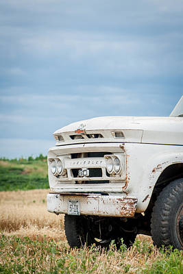 White Chevy Truch Art Print