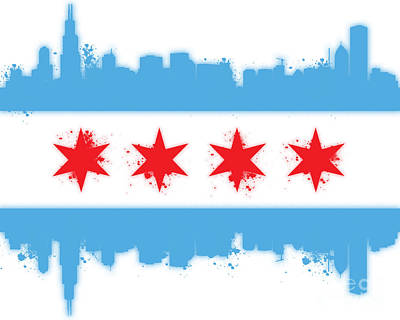 Skylines Royalty-Free and Rights-Managed Images - White Chicago Flag by Mike Maher