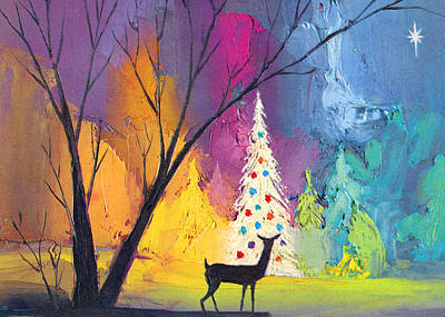 Deer Digital Art - White Christmas Tree by Munir Alawi