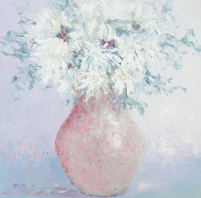 Interior Still Life Painting - White Chrysanthemums by Jan Matson