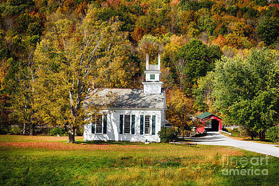 West Arlington Photograph - White Church And Red Covered Bridge by George Oze