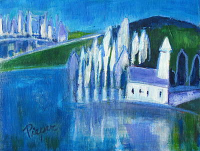 White Church And White Trees With Blue And Green Original by Betty Pieper