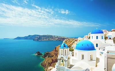 Photograph - White Church In Oia Town On Santorini by Spooh