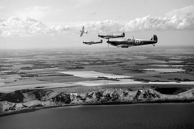 Photograph - White Cliffs Spitfires Black And White Version by Gary Eason
