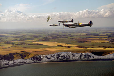 Photograph - White Cliffs Spitfires by Gary Eason