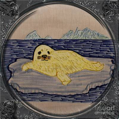 Newfoundland Quilt Drawing - White Coat Seal Pup On Ice Flow - Porthole Vignette by Barbara Griffin