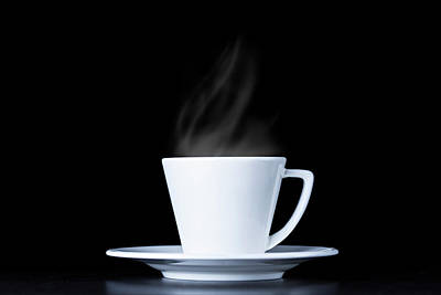 Photograph - White Coffee Cup And Steam On Black by Bjorn Holland