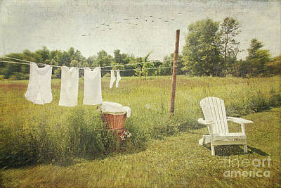Photograph - White Cotton Clothes Drying On A Wash Line  by Sandra Cunningham