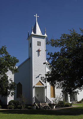Religous Photograph - White Country Church by Linda Phelps
