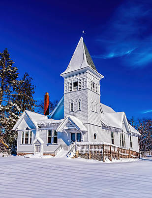 Photograph - White Country Church Winter by Nick Zelinsky