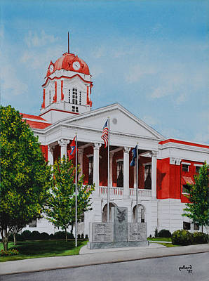 Painting - White County Courthouse - Veteran's Memorial by Glenn Pollard