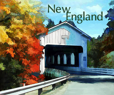 Covered Bridge Painting - White Covered Bridge  Colorful Autumn New England by Elaine Plesser
