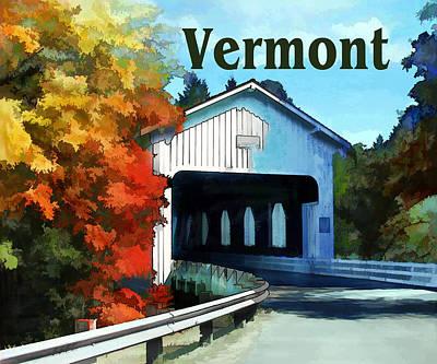 Covered Bridge Painting - White Covered Bridge  Colorful Autumn Vermont by Elaine Plesser