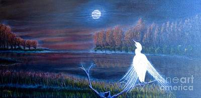 Night Sky With Moon Painting - White Crane Dancing In The Light Of The Moon by Kimberlee Baxter