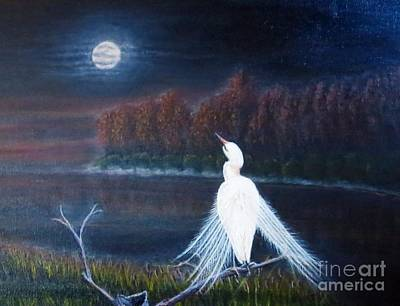 Night Sky With Moon Painting - White Crane Dancing Under The Moonlight Cropped by Kimberlee Baxter