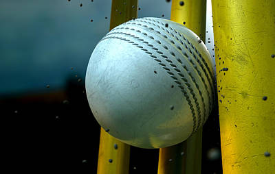 White Cricket Ball And Wickets Print by Allan Swart