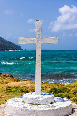 Miel Photograph - White Cross And Sea by Jess Kraft