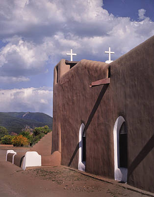 White Crosses At Taos Art Print by David and Carol Kelly