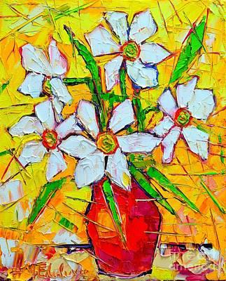 Daffodils Painting - White Daffodils  by Ana Maria Edulescu