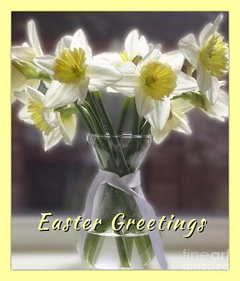 Photograph - White Daffodils Easter Greetings by Joan-Violet Stretch