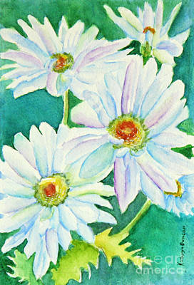 White Flowers Painting - White Daisy Trio by Kathryn Duncan