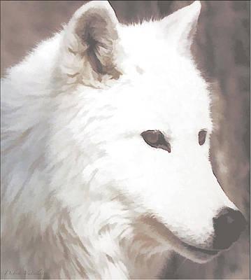 Painting - White Dazzle Wolf by Debra     Vatalaro