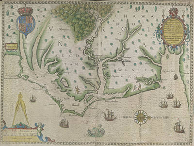 Theodor De Bry Photograph - White-de Bry Map Of Virginia by British Library