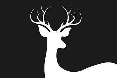 Deer Silhouette Digital Art - White Deer Silhouette by Chastity Hoff