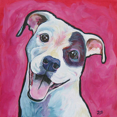 Painting - White Dog - Joy by Janet Burt
