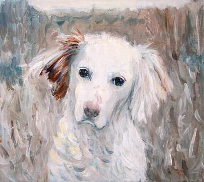Painting - White Dog # 2 by Kazumi Whitemoon
