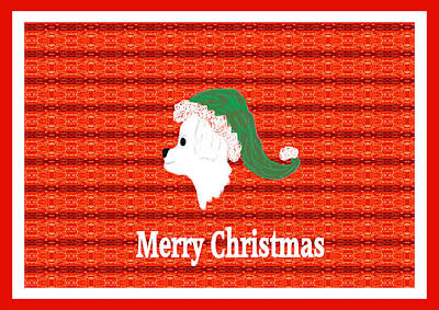 White Dog Christmas Card Art Print
