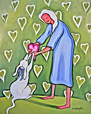 Painting - White Dog Valentine - Heart Of Mine by Rebecca Korpita