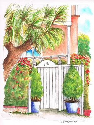 Dibujos Painting - White Door In - West Hollywood - California by Carlos G Groppa