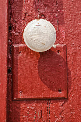 Photograph - White Doorknob On Red Door by Gary Slawsky