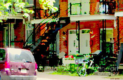 Montreal Memories. Painting - White Double Doors Lower Duplex Verdun Stairs Flower Box Bike Beautiful Scenes Carole Spandau by Carole Spandau