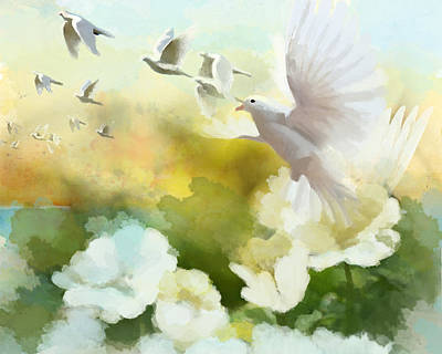 Parakeet Painting - White Doves by Catf