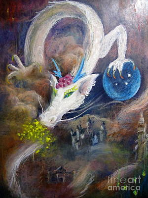 Art Print featuring the painting White Dragon by Jieming Wang