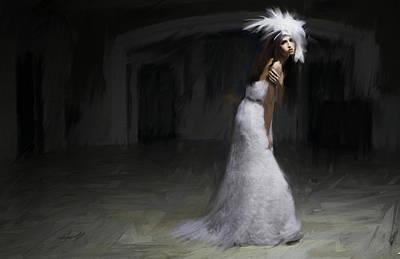 White Dress Art Print by H James Hoff
