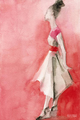 Feminine Painting - White Dress With Red Belt Fashion Illustration Art Print by Beverly Brown