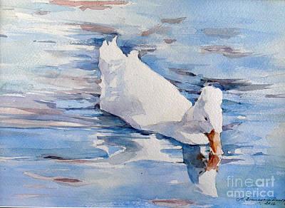 Painting - White Duck - Eisenhower Park - Orange City by Natalia Eremeyeva Duarte