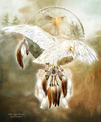 Mixed Media - White Eagle Dreams by Carol Cavalaris