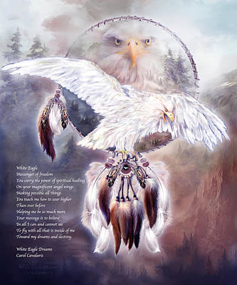 Eagle Mixed Media - White Eagle Dreams W/prose by Carol Cavalaris