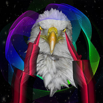 Geometric Animal Digital Art - white Eagle face by Mark Ashkenazi