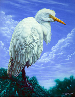 White Egret Art Print by Larry Taugher