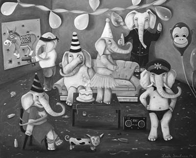 Boombox Painting - White Elephant Party Edit 2 by Leah Saulnier The Painting Maniac